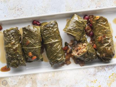 Stuffed Grape Leaves with Pomegranate Molasses
