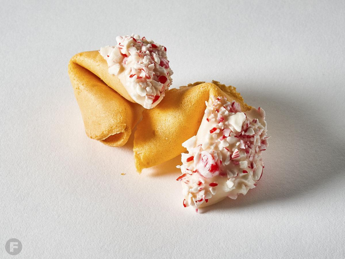 White chocolate-peppermint fortune cookies