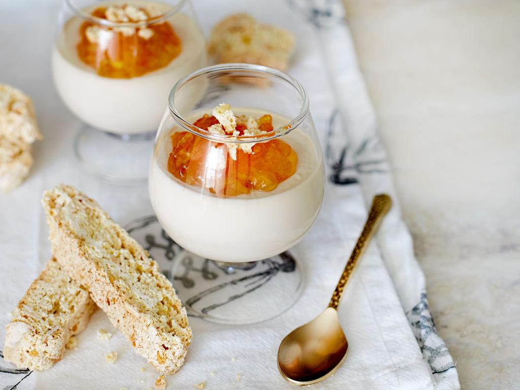 Earl Grey Panna Cotta With Lemon Almond Biscotti