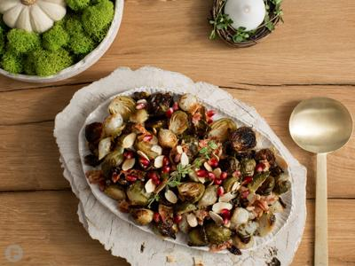 Roasted Brussels Sprouts with Crispy Pancetta and Pearl Onions