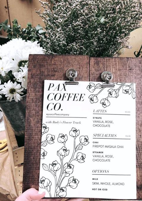 Pax Coffee Co. Latte Menu