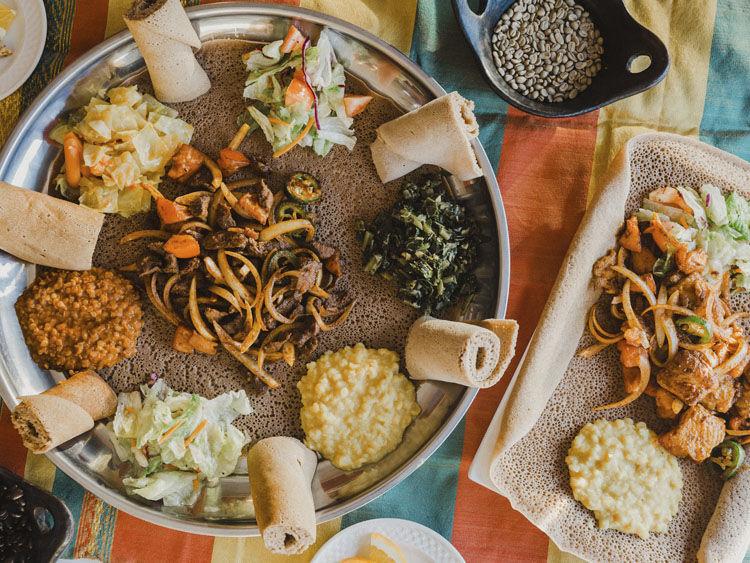 Destas Ethiopian Cuisine Tibs Plate