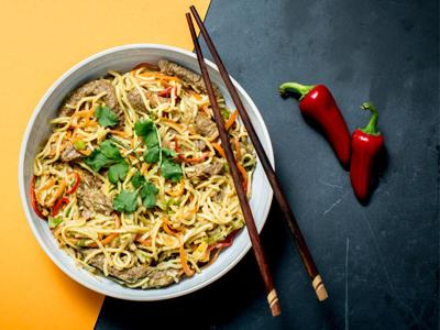 Ginger Beef and Vegetable Noodles