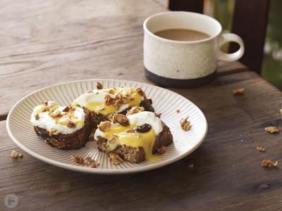 Breakfast Tartines with Cherimoya Curd and Almond-Rosemary Muesli Crumble