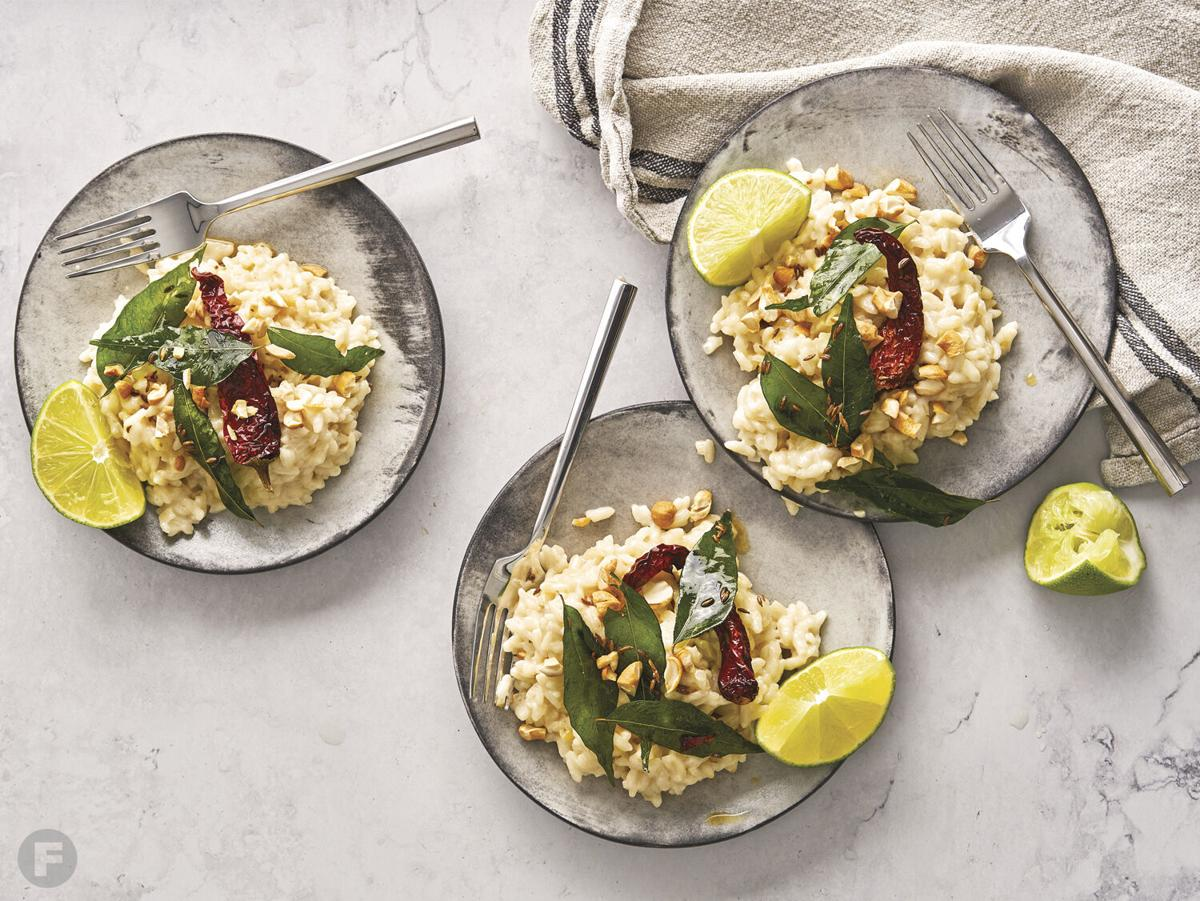 Coconut Risotto with Curry Leaf Tadka