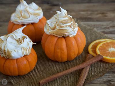 Pumpkin-Orange Pie in Mini Pumpkins with Toasted Swiss Meringue