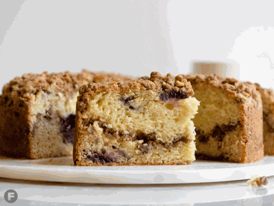 Cherry Coffee Cake with Spiced Pecan Streusel