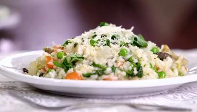 Spring Risotto with Peas and Mushrooms