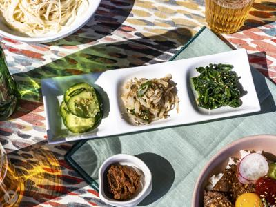 Seasoned Bean Sprouts, Cucumbers and Spinach