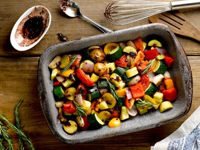 Roasted Vegetables with Red Wine Reduction