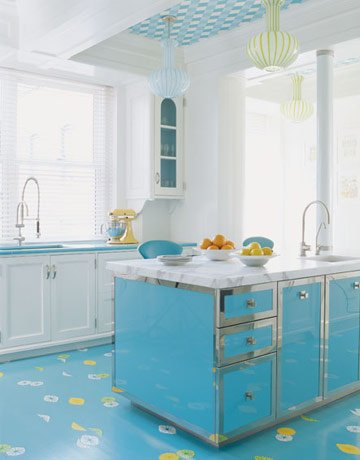 Design Bites: Painted Kitchen Floors (Image From House Beautiful)