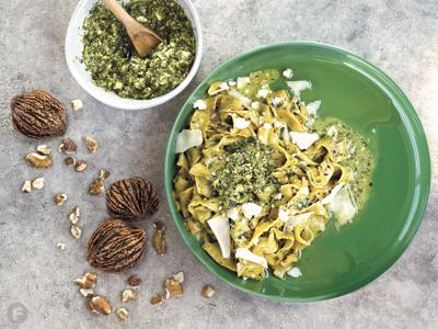 Carrot Pasta with Black Walnut Pesto