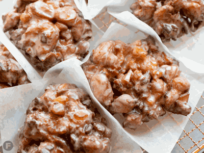 Spiced Pear & Pecan Fritters with Cinnamon-Maple Glaze