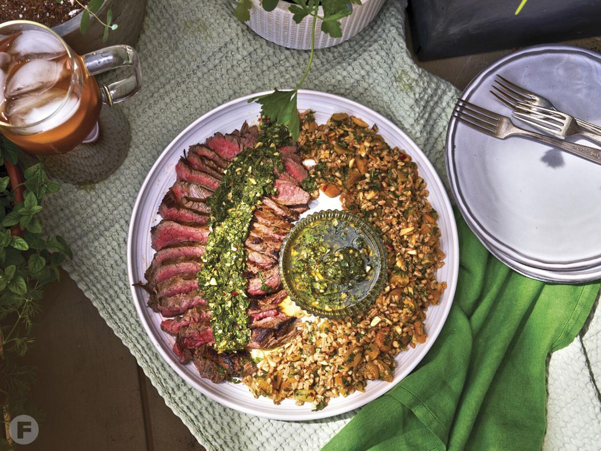 Chimichurri-Marinated Flank Steak with Chilled Farro Salad