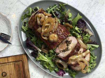 Prosciutto-Wrapped Walnut- and Raisin-Stuffed Pork Loin