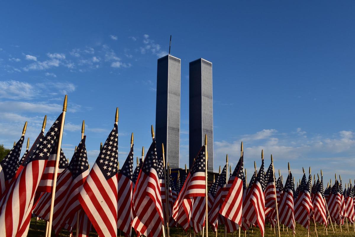 9.11 towers flags.JPG