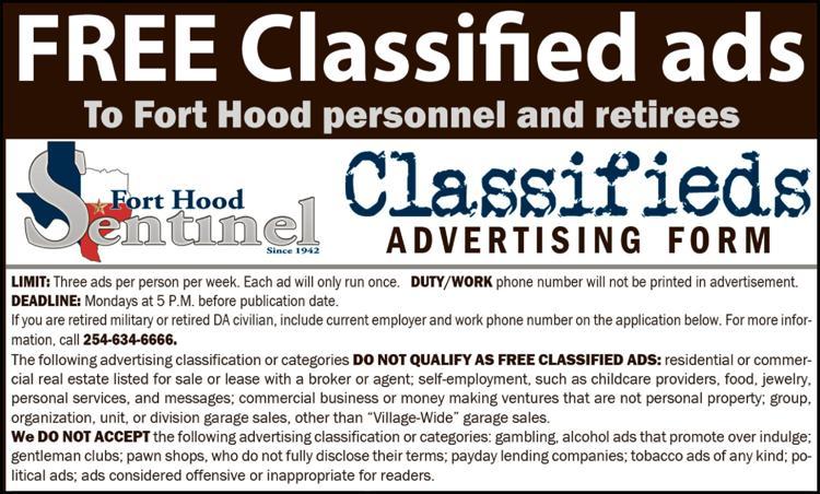Classified Ad   forthoodsentinel com
