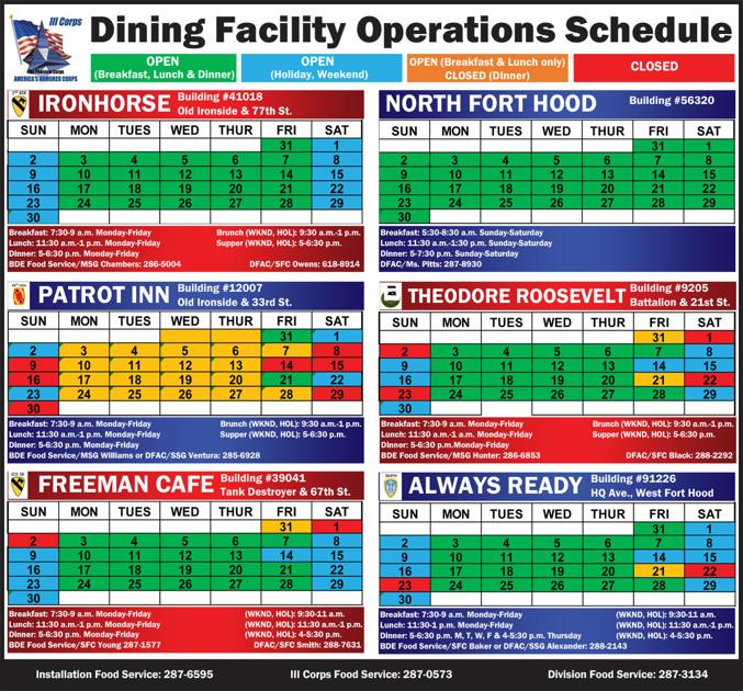 Dining Facility Operations Schedule | Dining Facility