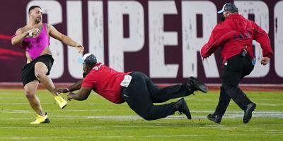 Super Bowl fan on field