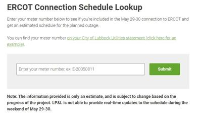 LP&L power outage screenshot
