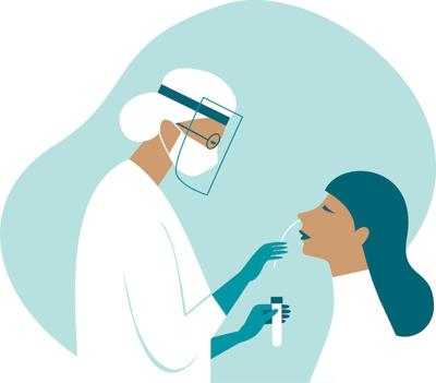 Coronavirus COVID-19 diagnostics. Doctor wearing full antiviral protective gearmaking nasal swab test for patient.