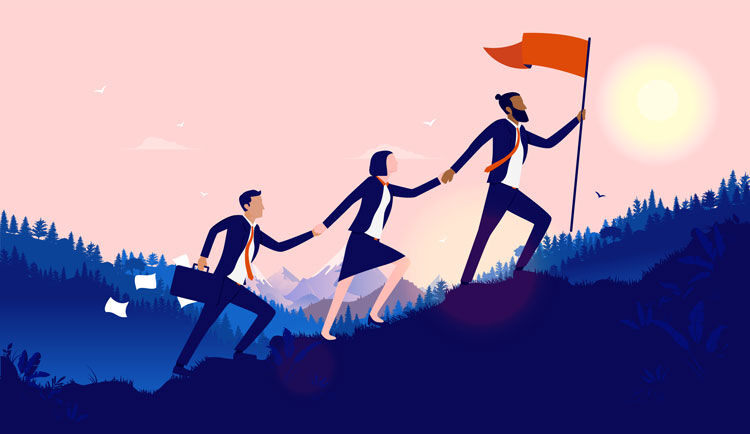 Teamwork diversity - A small group of businesspeople walking up hill to plant flag at the top. Successful, international multiethnic team working towards goal concept. Vector illustration.