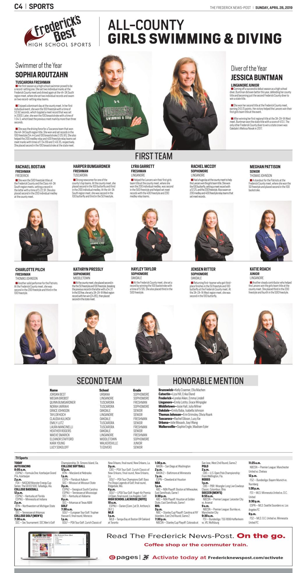 2018-19 All-County Girls Swimming and Diving