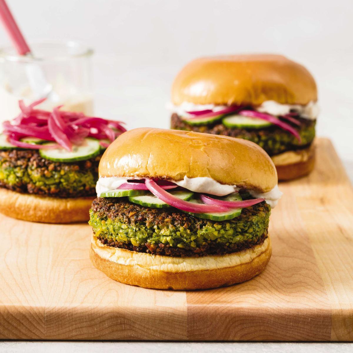Food Column ATK Falafel Burgers with Tahini Yogurt Sauce