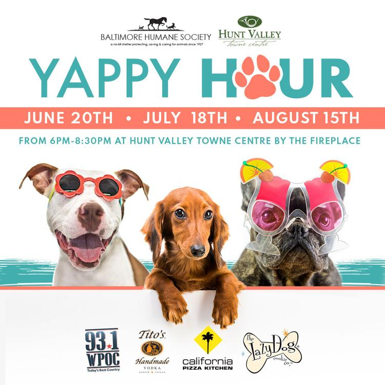 Yappy Hour! June 20, July 18, August 15 from 6 PM - 8:30 PM