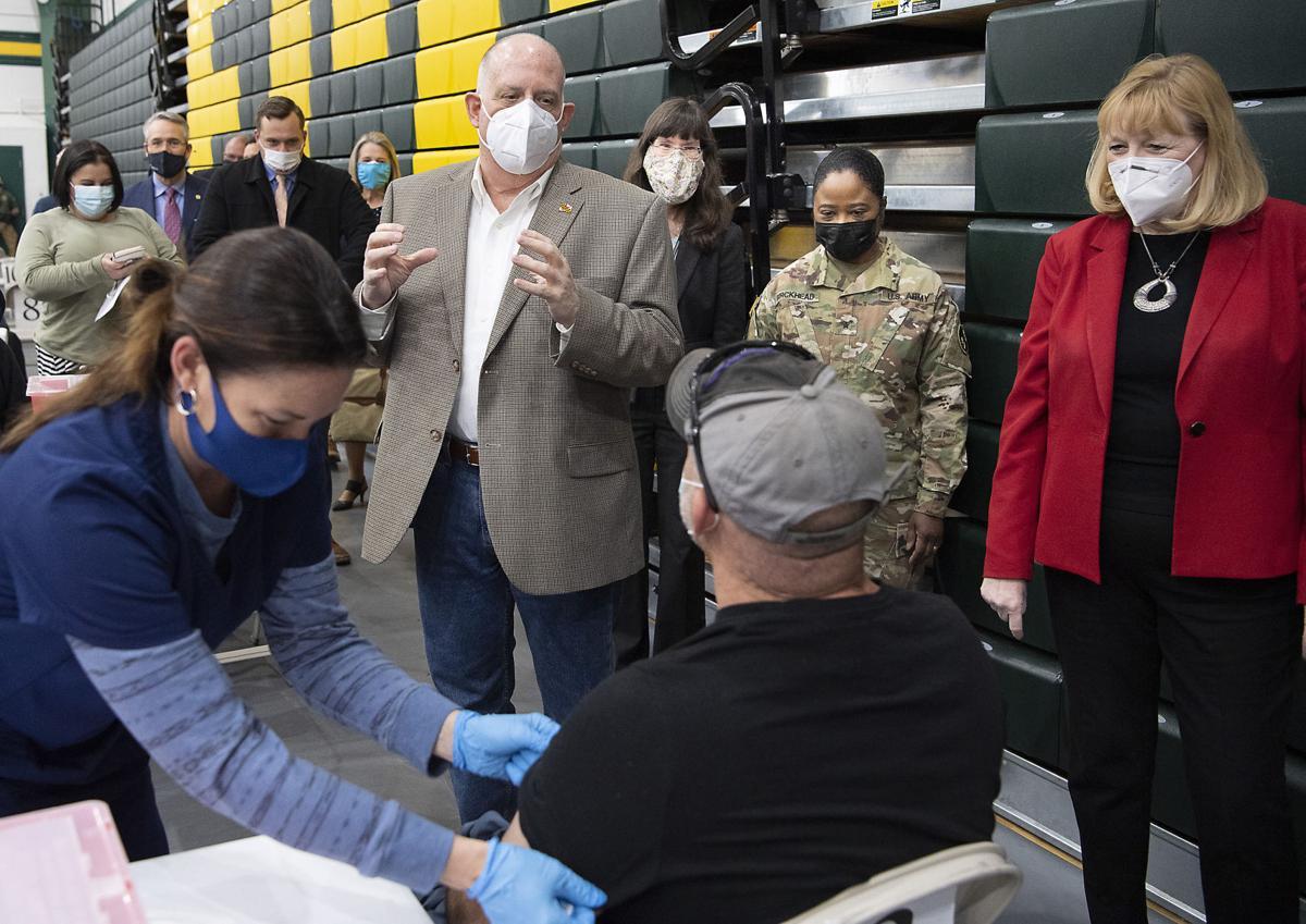 Hogan Visits Vaccine Clinic