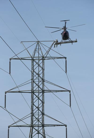 Helicopter power line work
