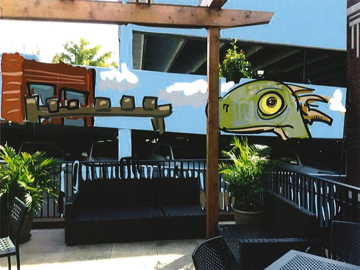 local artist will paint dinosaur mural on frederick parking garage an artist s rendering shows how a planned mural for the west wall of the church street parking garage would look from the new rooftop terrace at brewer s
