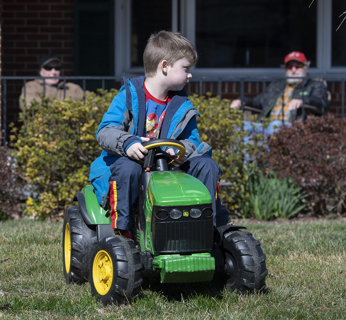 Tiny green tractor