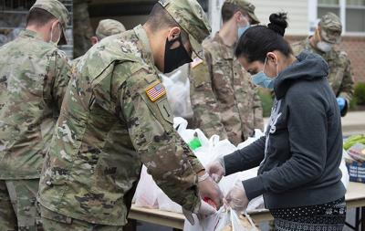 The front lines of a pandemic: Maryland National Guardsmen partner with Frederick city to provide for residents