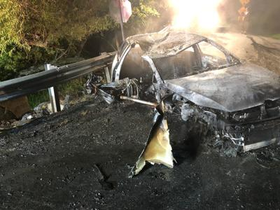 Three injured when car bursts into flames in Frederick
