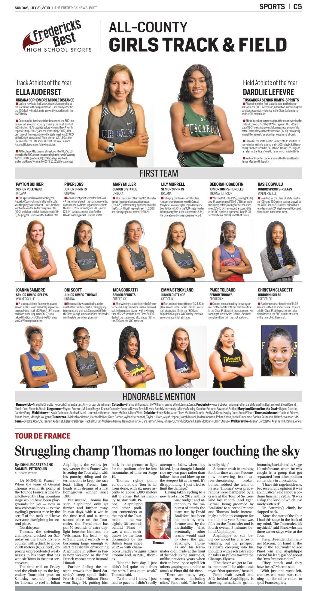 2019 All-County Girls Outdoor Track and Field