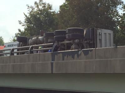 Overturned dump truck cleared from southbound U S  15 | Cops