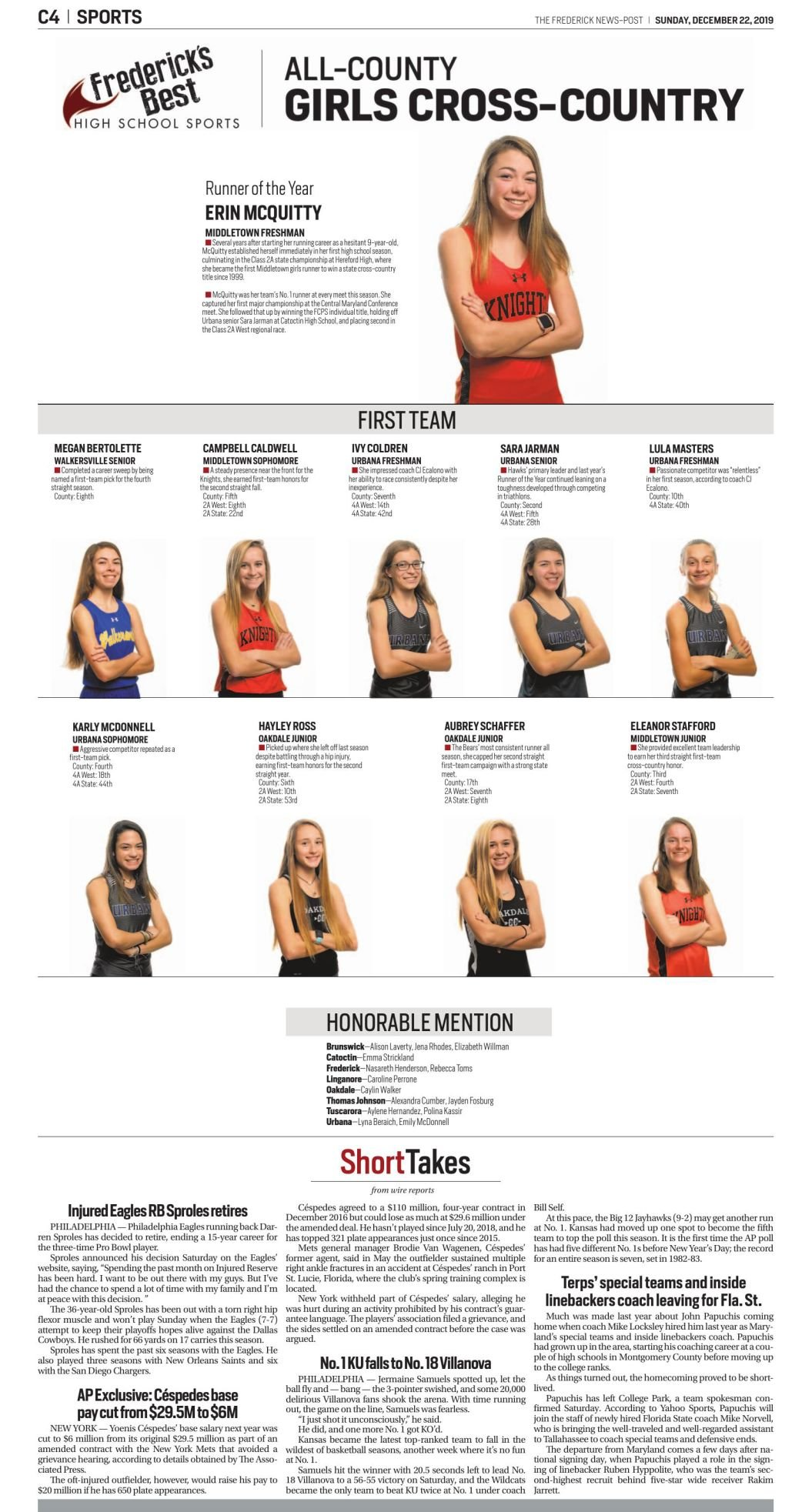 2019 All-County Girls Cross-Country
