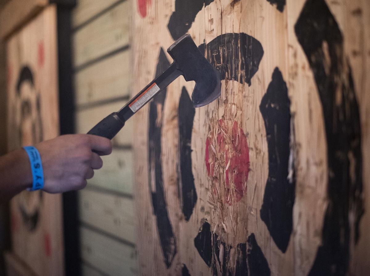 Stumpy's Hatchet House-hatchet in target