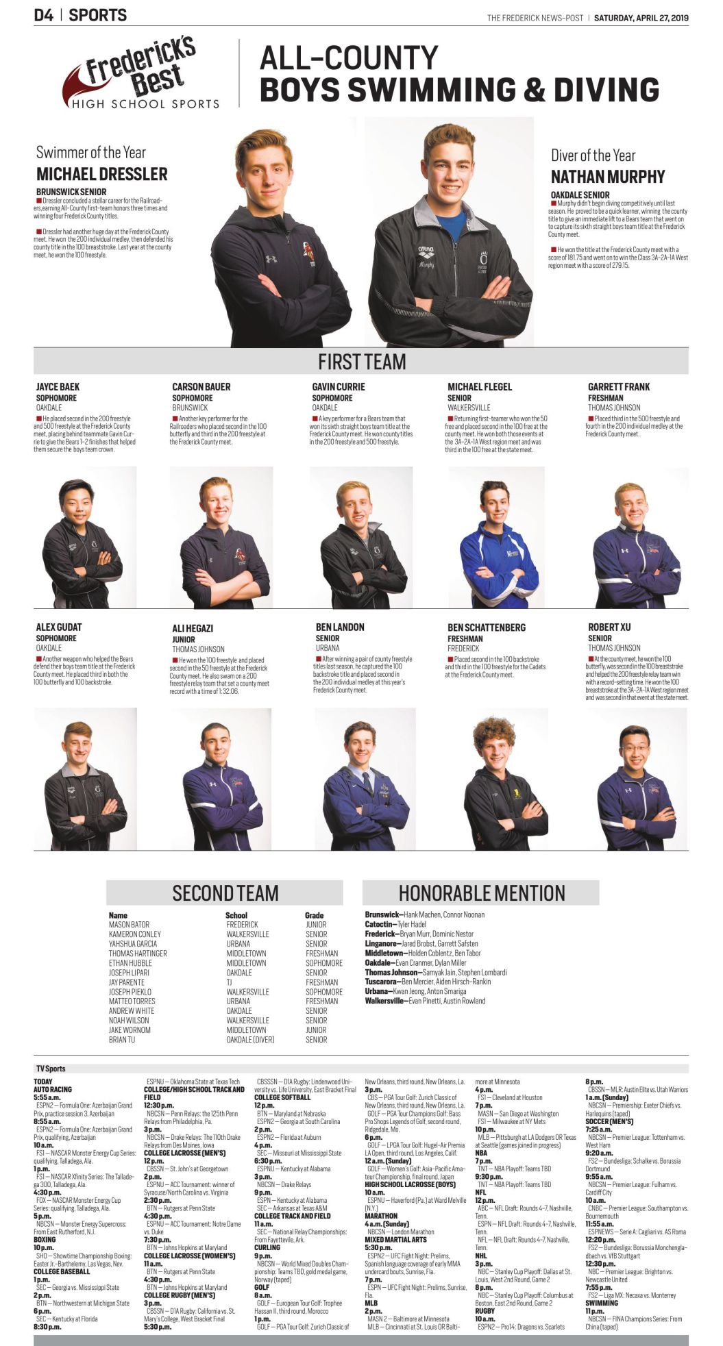 2018-19 All-County Boys Swimming and Diving