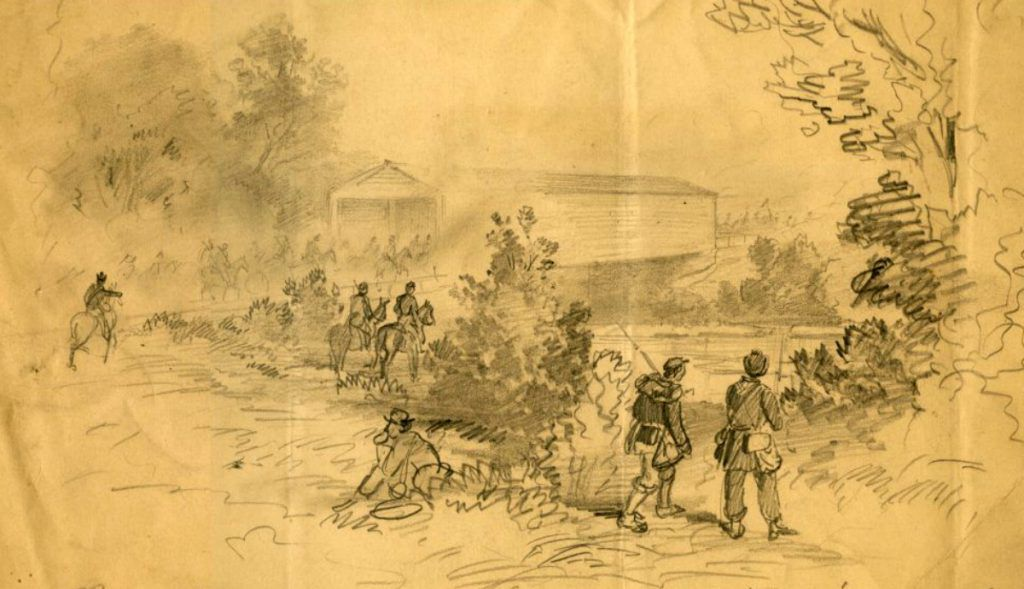 Soldiers on the Georgetown Pike at the Monocacy River