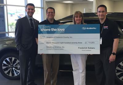 Subaru makes donation to Hospice