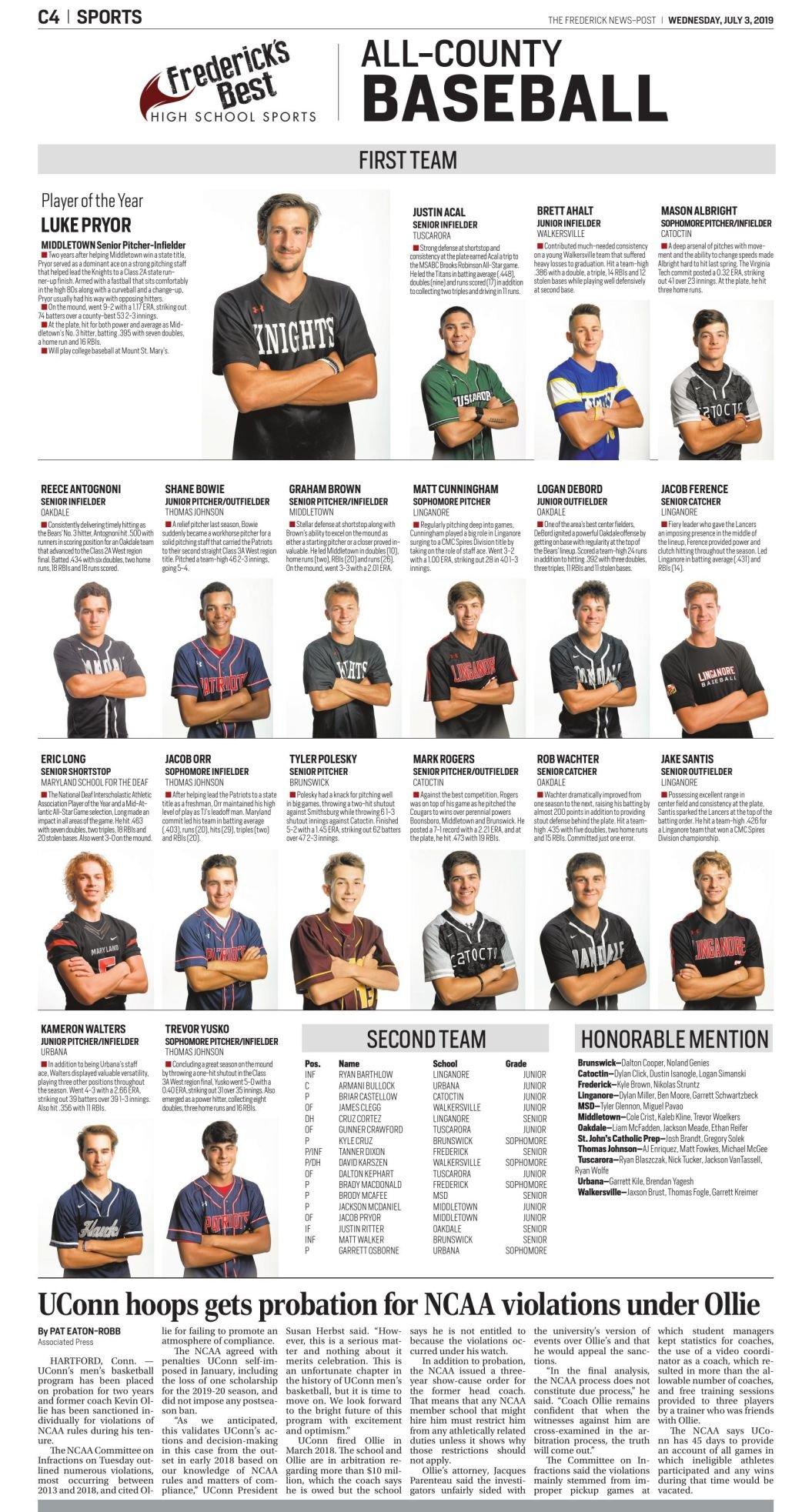 2019 All-County Baseball Team
