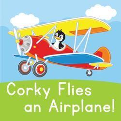 Corky flies an airplane