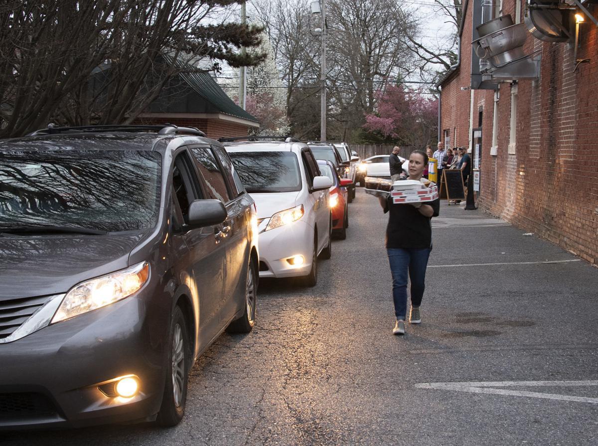 Line of cars food pickup