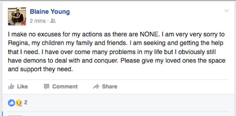 Blaine FB apology