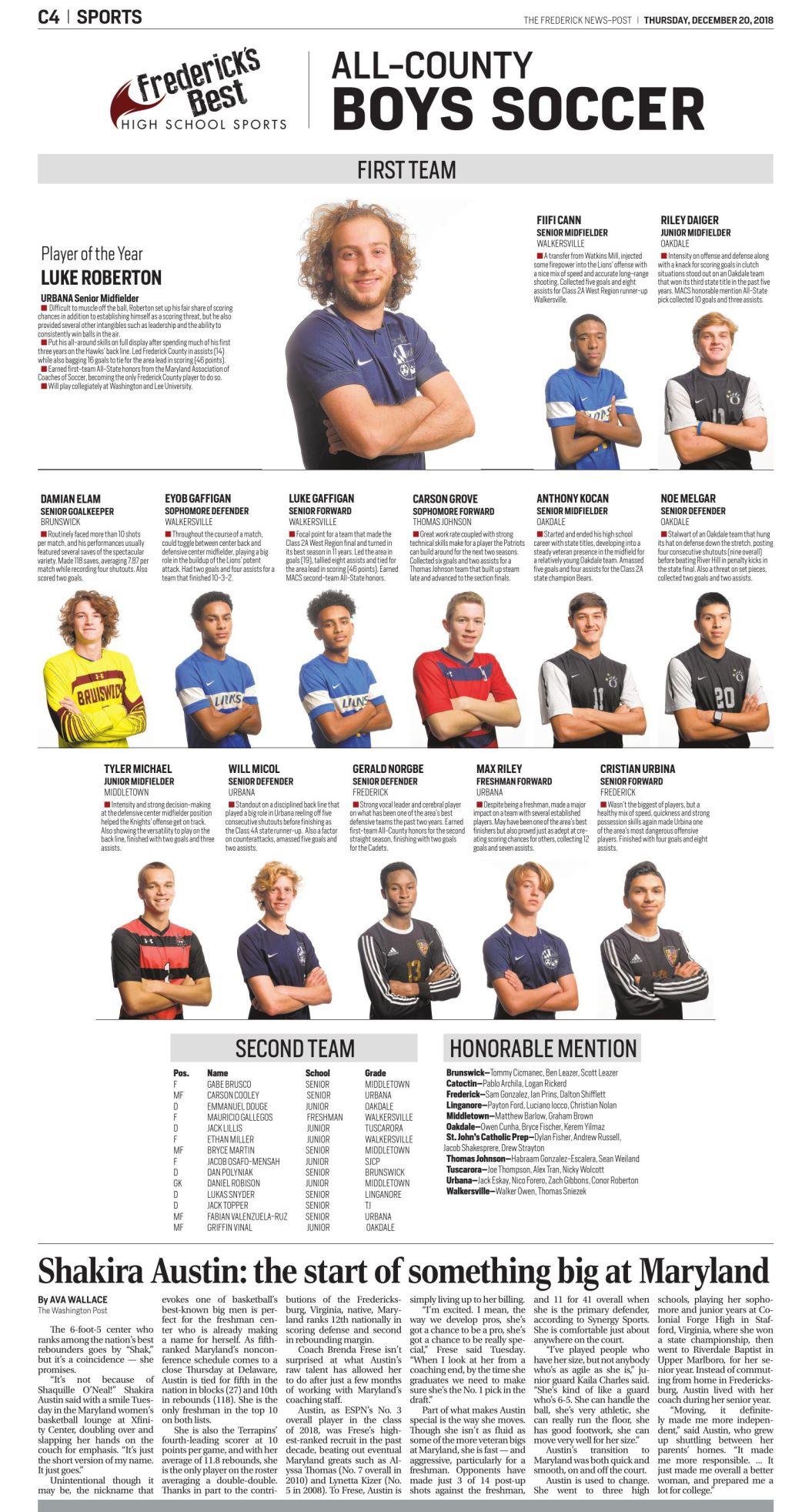 2018 All-County Boys Soccer