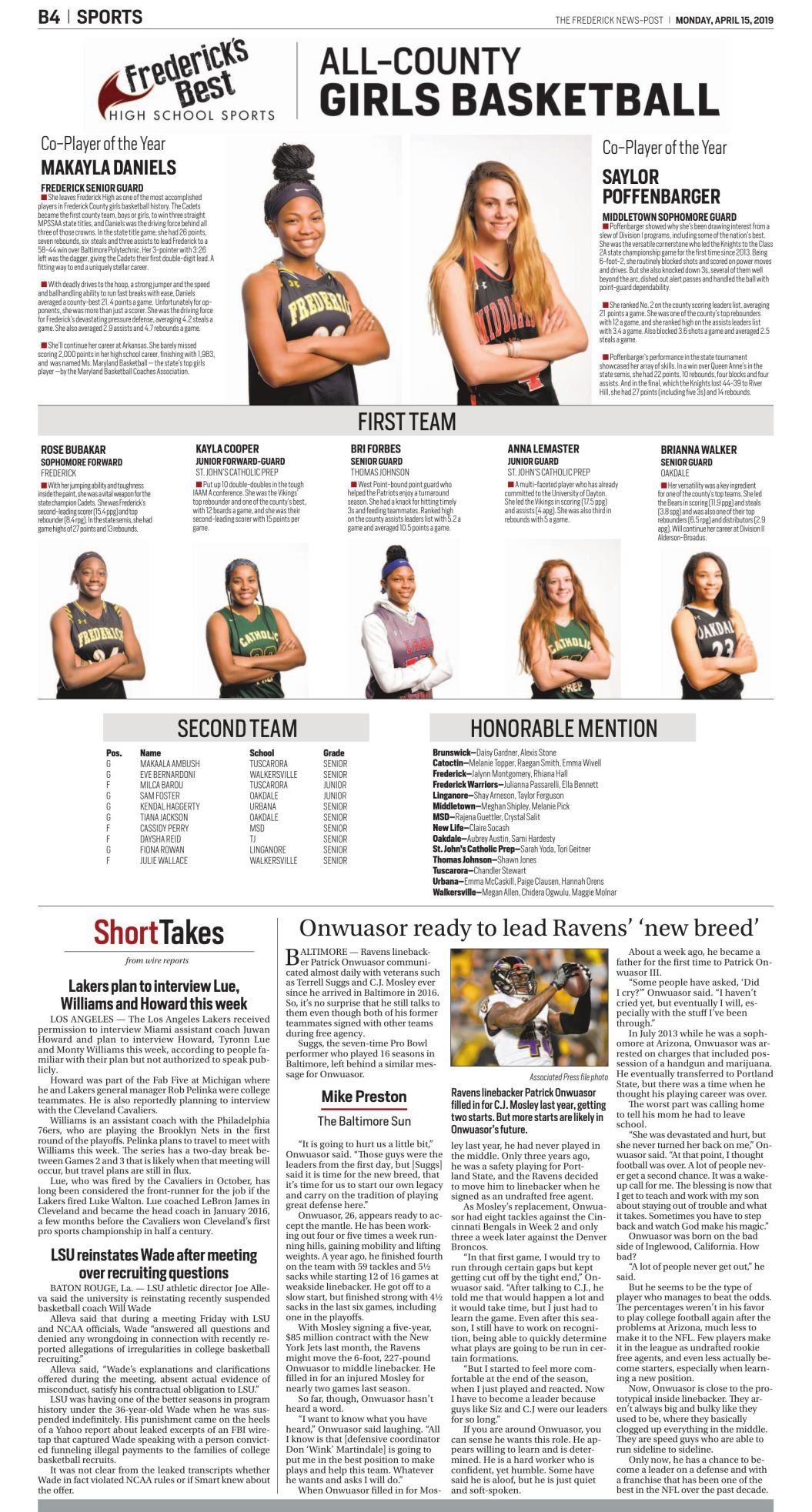 2018-19 All-County Girls Basketball Team