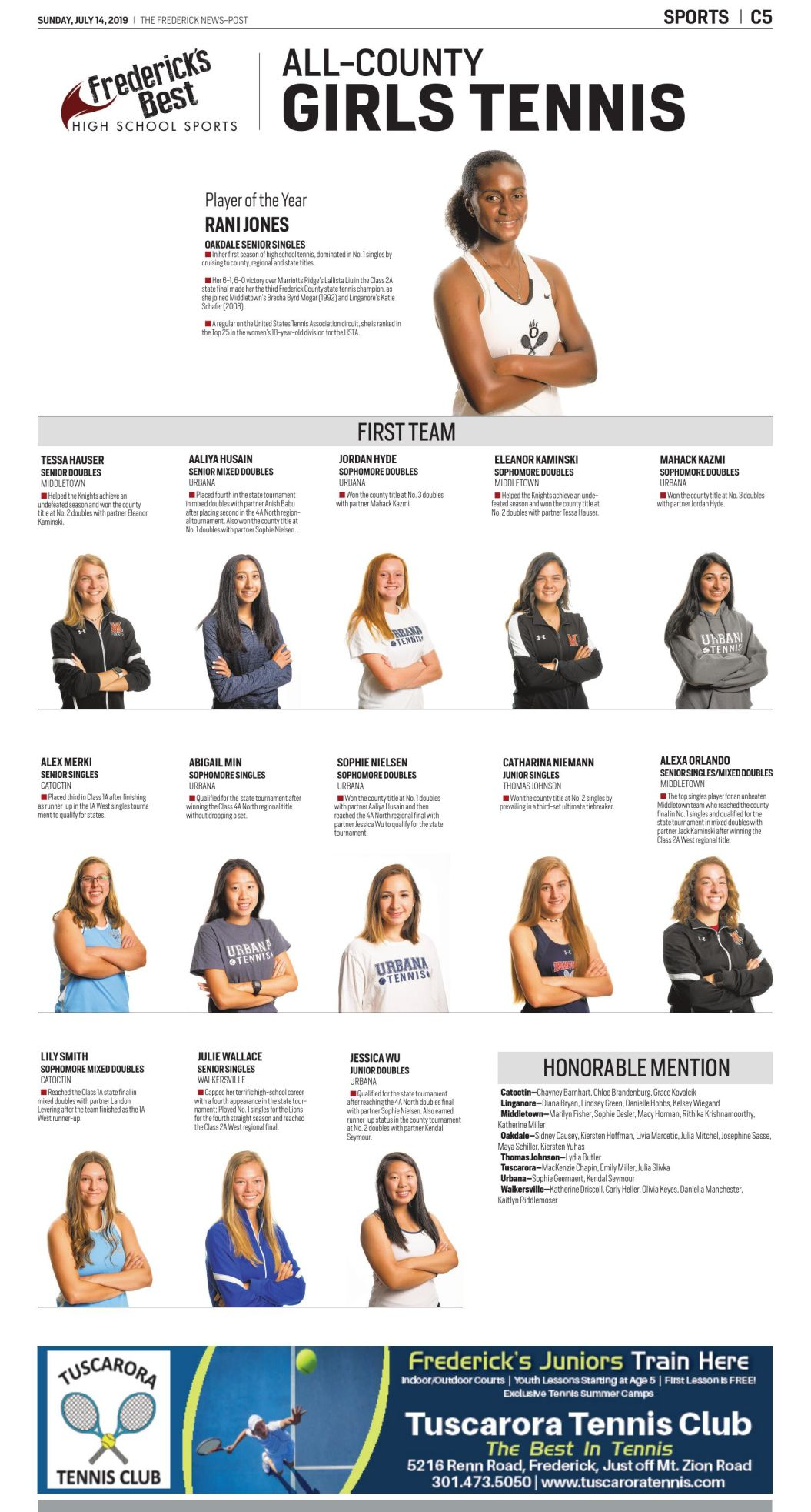 2019 All-County Girls Tennis