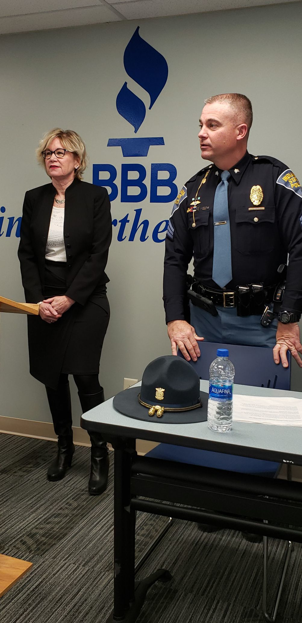 Marjorie Stephens, Better Business Bureau, and Brian Walker, Indiana State Police